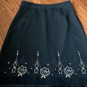 LOFT Black & Gold Pattern Lined Skirt